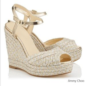 Jimmy Choo Mirror Leather Metallic Raffia Wedge
